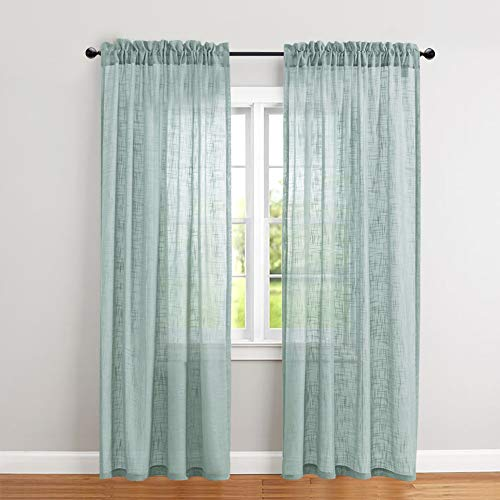 (jinchan Linen Textured Sheer Curtains Rod Pocket Drapes for Bedroom Curtain Panels for Living Room Window/Patio Door (2 Panels, 52 by 84 Inch Long, Blue Haze))