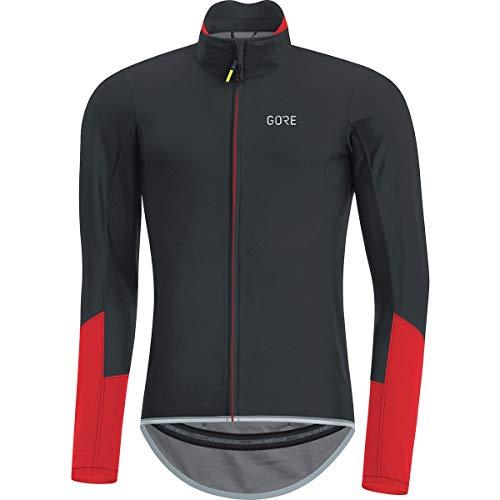 (GORE Wear Men's Windproof Long Sleeve Road Cycling Jersey, GORE Wear C5 GORE Wear WINDSTOPPER Long Sleeve Jersey, Size: M, Color: Black/Red, 100196)