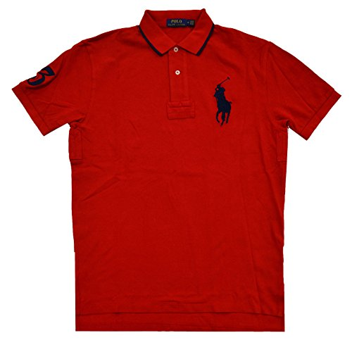 Polo Ralph Lauren Classic Fit Mesh Big Pony Logo Polo (Large, Red) Classic Fit Striped Rugby