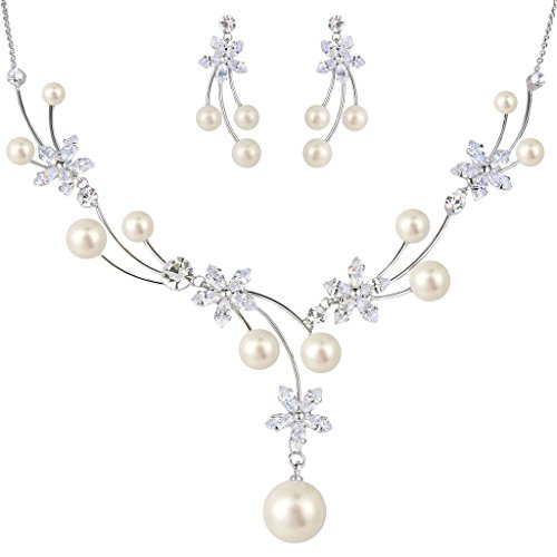 EleQueen Womens CZ Simulated Pearl Flower Filigree Bridal Necklace Earrings Set Ivory Color