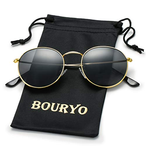BOURYO Classic Small Round Polarized Sunglasses for Men Women Metal Frame Mirrored Lens Sun Glasses 3447(Gold/Black)