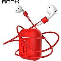 Kit de Protetor Para Fone Apple Airpod, Capa para Estojo + Gancho fixação + Alça de segurança Rock (Vermelho)