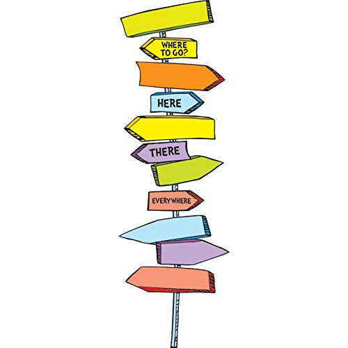 Eureka Back to School  Dr. Seuss Directional Signs Bulletin Board and Classroom Decorations,  8pc, 6.5'' W x 26'' H