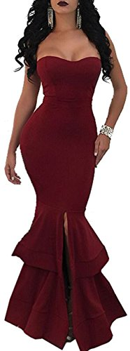 Evesymil Women Strapless Split Mermaid Bodycon Evening Gown Party Maxi Long Dress Wine Red Small