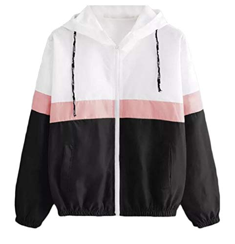 Hooded Zipper Womens Jacket Side Lightweight Spring XINHEO Pockets Black Closure xfIUXAq
