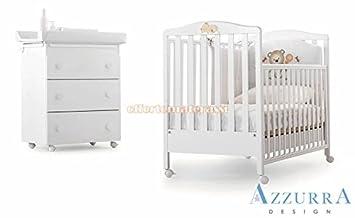 Lit bébé Azzurra Design à barreaux, blanc Lettino web con decoro ...