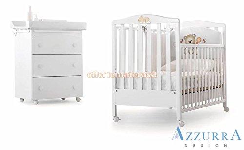 Kinderbett Azzurra Design Web weiß mit Dekor + Badewanne Drei Kinder Kindheit