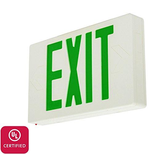 LFI Lights - UL Certified - Hardwired Green LED Standard Exit Sign - Battery Backup Emergency Lighting - LEDGBB