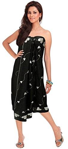 La Leela Cotton hawaiian cotton front skirt plus size tie for women for plus size cover ups Embroidered Black one (Cotton Embroidered Wrap)