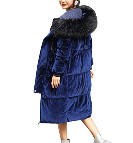 Cotone xl Cerniera Casuale Giù Pellicce Invernale Caldo Delle Colori Blu Artificiali Tasca Incappucciato Il Donne Il Cappotto Rivestimento Lungo Neve Solido 45RqwRS