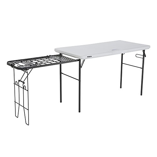 Lifetime 280312 Folding Tailgate Camp Table with Grill Rack, White