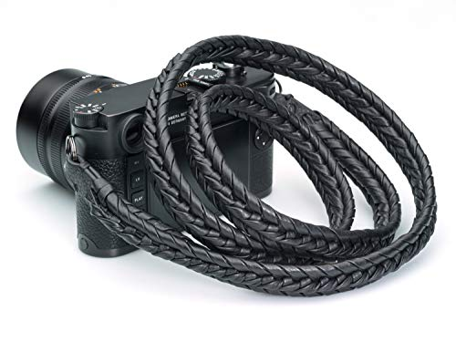 Vi Vante Ultime Blackout; Black on Black Braided Top Grain Leather Designer Camera Strap w/Electroplated Mounting Rings Carry Pouch