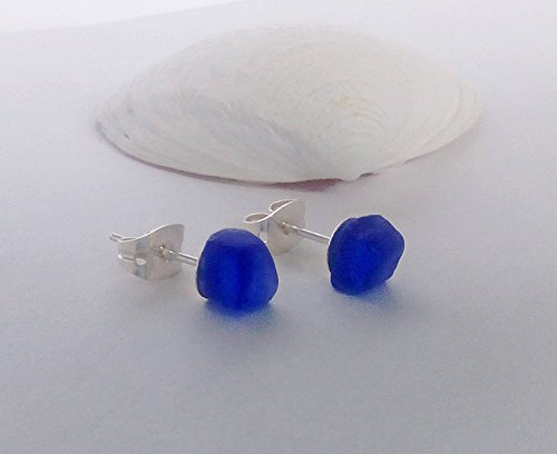 Blue sea glass stud earrings. (Blue Sea Studs)
