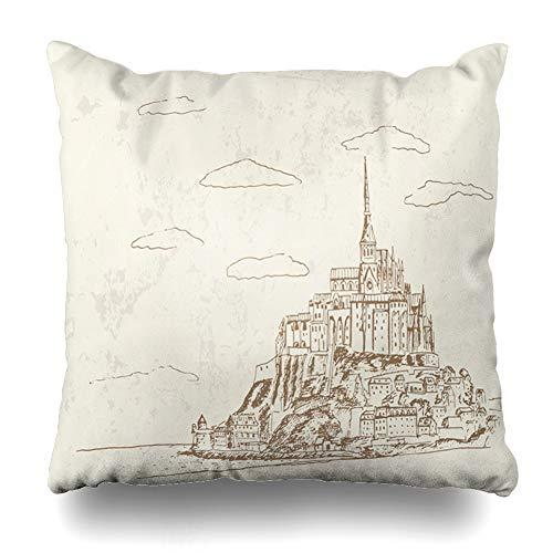 (Ahawoso Decorative Throw Pillow Cover History Church Sketch Mont Saint Michel Normandy Abbey France Retro Vintage Abey Bretagne Design Home Decor Zippered Square Size 18