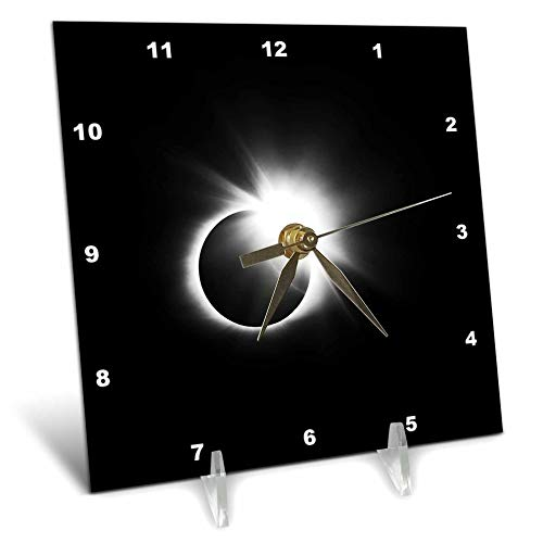 3dRose Stamp City - Astronomy - Photograph of The 2017 Solar Eclipse. Capture of The Diamond Ring. - 6x6 Desk Clock (dc_290787_1) by 3dRose