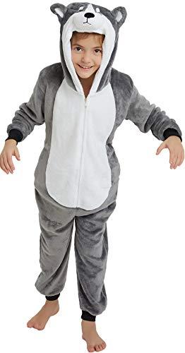 Fun Halloween Things To Do With Kids (Kids Onesie Pajamas Animal Christmas Halloween Cosplay Onesies Fleece Cartoon Animal Costume Gray Husky 140CM(Height)