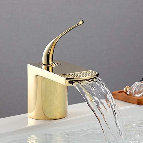 蛇口の滝の浴室の流しの一体鋳造のミキサーめっきされる熱く、冷たい調節可能なコックのクロム、真鍮材料、容易にきれいになること容易