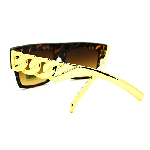 Vintage Inspired Round Horned P-3 Sunglasses with Key Hole Nose (Tortoise-Gold Chain, - Chain With Sunglasses Gold