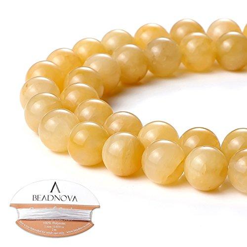 BEADNOVA 10mm Natural Yellow Jade Gemstone Round Loose Beads for Jewelry Making (38-40pcs)