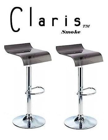claris adjustable acrylic bar stools smoke set of 2