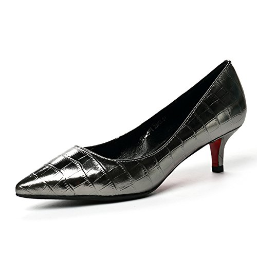 PUMPS Die Mittlere Ferse der Schuhe frau2017herbst New Work Leder Light Mouth Schuhe Professional Heels Weiblich Schwarz-B Fußlänge=22.8CM(9Inch)