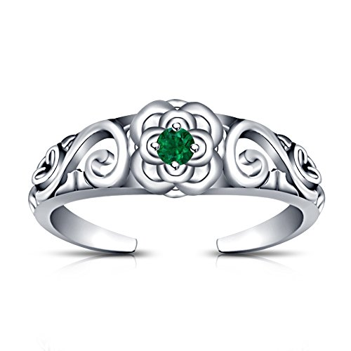 TVS-JEWELS S925 Sterling Silver Round Cut Solitaire Green Sapphire Flower Wave Design Fashion Toe Ring (White)