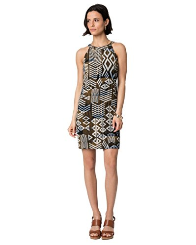 LE CHÂTEAU Women's Abstract Print Crêpe Halter Mini Dress,L,Multi (Abstract Print Mini Dress)