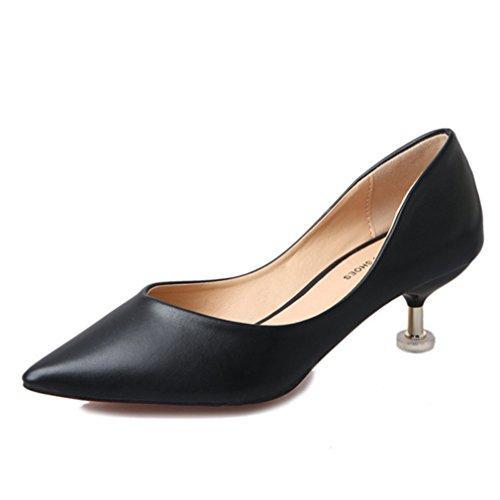 Fashion Lisse Bureau Moyenne Cuir Femmes Travaille OL On Bout Inconnu Simple Noir PU Escarpins Kitten Slip Pointu Féminins Chaussures wxPSOYOqI