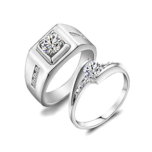 [Daesar Silver Plated Wedding Bands Womens Engagement Rings Princess Cut for Women 6mm Size:8.5] (Gold Antler Crown)