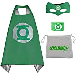 Superhero Cape, Mask and Slap Bracelet - Costume for Kids Birthday Party, Pretend Play, Dress up (Green Lantern)