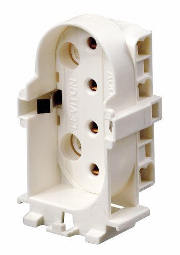 Leviton 13453 2G11 Base, 4-Pin, Twin Tube Fluorescent Lampholder, Vertical, Snap-in, Straight-in Double Edge, White