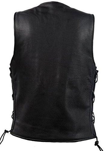 Dream Men's Motorcycle Classic Biker Leather Club Vest with Side Laces & 2 Gun Pockets(L)