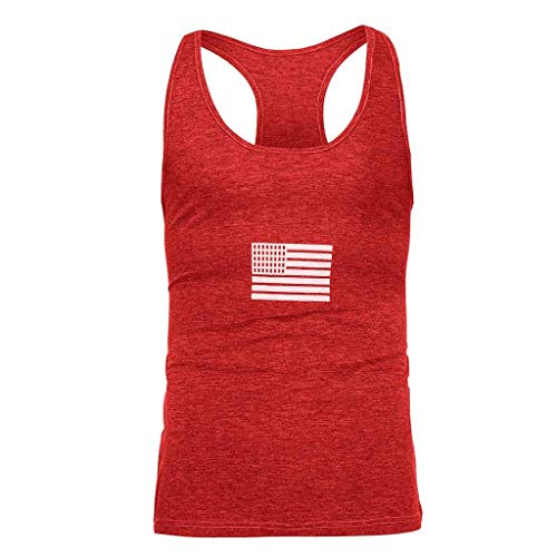 - T-Shirts Men GREFER Summer Flag Printed Sports Vest Fashion Striped Splice Tank Tops Blouse Tops Red