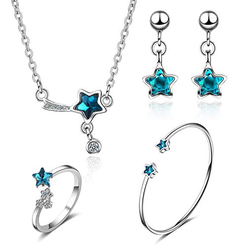 ISAACSONG.DESIGN 925 Sterling Silver Inspirational Star Blue Crystal Charm Pendant Necklace, Bangle Bracelet, Dangle Earring and Ring Jewelry Set for Women Girl (4 Pcs Galaxy Star (Blue Crystal Eyes Ear Cuff)