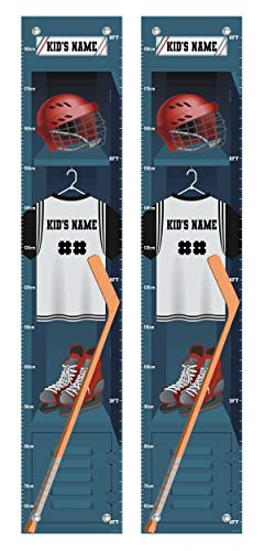 Personalized Gifts for Kids Sports Locker Themed Hockey Gifts 2-Pack Personalized Growth Chart -