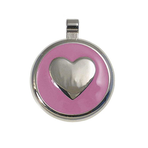 LuckyPet Heart Jewelry Pet ID Tag for Cats and Dogs, Personalized Engraving on The Back Side, Large Pink Heart