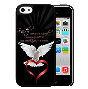 Blessed Faith is Like the Angel Quote with White Dove Holding Red Heart Hard Snap on Cell Phone Case Cover iPhone 5c