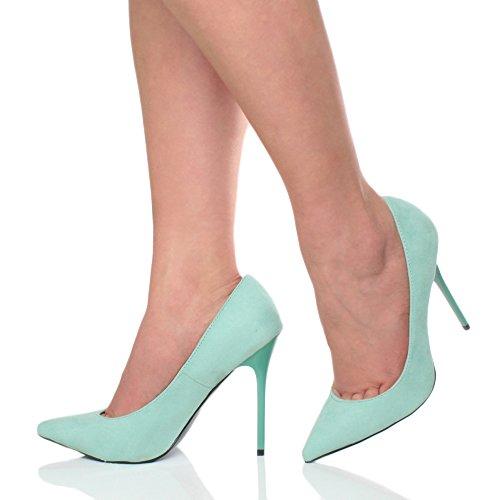 Damen Pumps Pfefferminz Spitz Fesch Pastell Schuhe Grüne Kontrast Höher Stilettos High Arbeit Wildleder Gepflegt Absatz Heels rOrwFqv