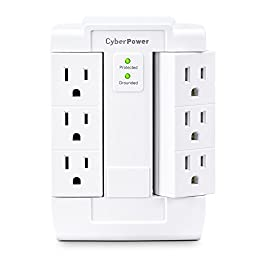 CyberPower CSB600WS 900 Joules Essential Wall Tap with 6-Outlet Surge Suppressor
