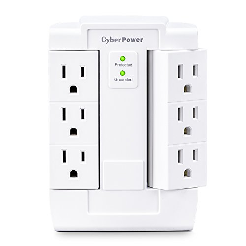 Cyberpower Adapter (CyberPower CSB600WS Essential Surge Protector, 900J/125V, 6 Swivel Outlets, Wall Tap)