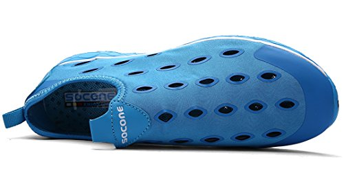 Iduoduo Dames Sneldrogend Aqua Mesh Slip Op Waterschoenen Casual Walking Blue