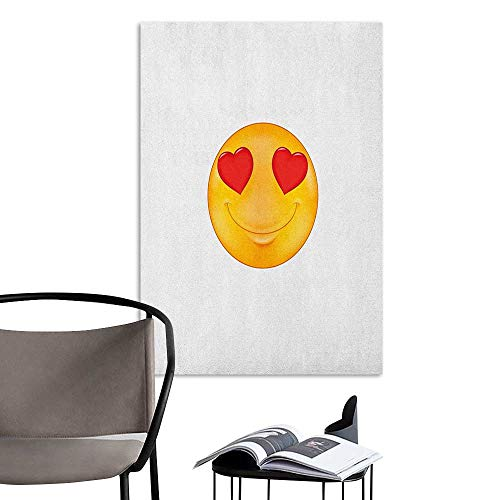(Wall Mural Wallpaper Stickers Love Cartoon Smiley Face Hearts for Eyes Emoticon Adoration Romantic Illustration Marigold Red White Kitchen Room Wall W24 x)