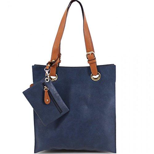 Navy Tote Bag Frame Celebrity Shoulder Ladies Designer Style Womens Handbag Iax6q7z6