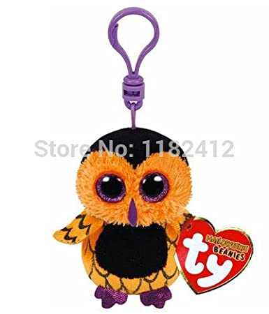 TY Plush Animals Beanie Boos Mini Screech Halloween Owl Key Clip 8cm Cute Keychains