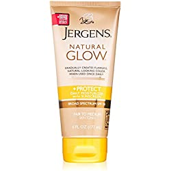 Jergens Natural Glow + Protect Daily Moisturizer Sunscreen SPF 20, Fair to Medium Skin Tones, 6 Ounce