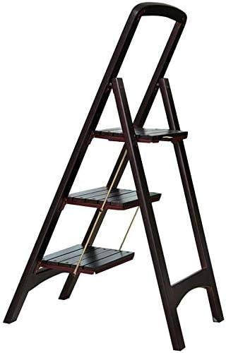 XITERTE Las escaleras de Mano Pasos Taburete Plegable 3 Pasos Madera Ligero y Plegable Escalera Multiuso de Inicio Biblioteca Loft - 300 Libras de Capacidad (Negro Nuez): Amazon.es: Hogar