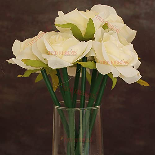 TIED RIBBONS Artificial Rose Flowers Bunch for Decorative Glass Vase Pot (25 cm, White) for Home Decoration Living Room Side Table Centerpiece Wedding Party Events (Vase not Included)
