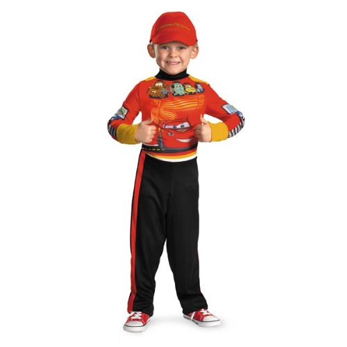 [Childs Cars Lightning McQueen Pit Crew Costume Medium] (Cars Movie Costumes)