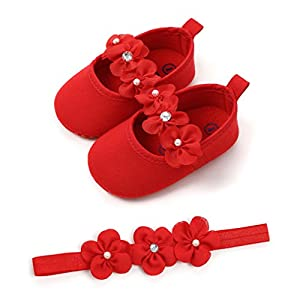 Baby Girls Shoes Soft Sole Prewalker Mary Jane Princess Party Dress Crib Shoes with Flower Headband