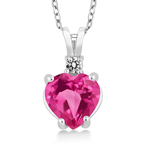 Gem Stone King 14K White Gold Heart Pendant set with 2.27 Ct Pink Mystic Topaz White Diamond
